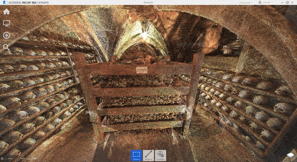 Figure 3. 3D point cloud view of the charnel chapel from the entrance.