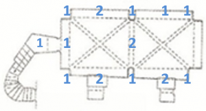 Figure 1. The seventeen scan locations shown on a plan view of the Chapel.